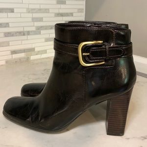 Franco Sarto Dark Brown Ankle Boots w/ Gold Buckle